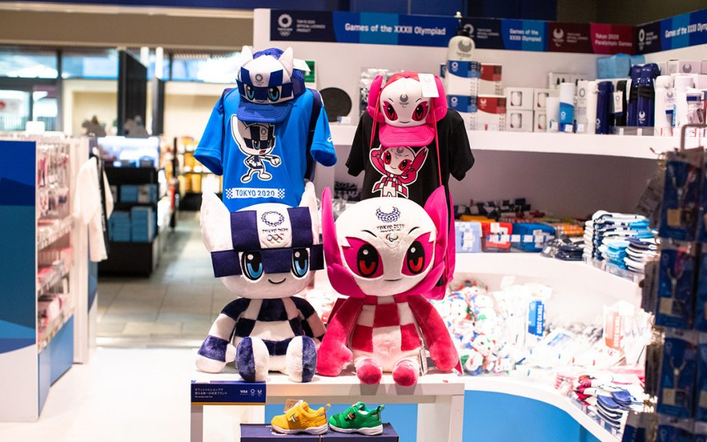 Tokyo Olympics 2020 official goods store with a lot of toys of mascots Someity and Miraitowa in Tokyo, Japan